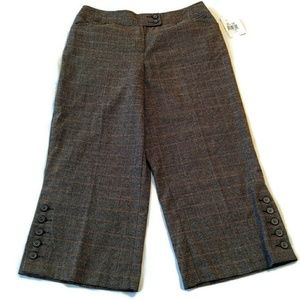 Cabi crop wide leg pants 10 brown plaid new Fall